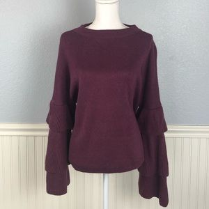 Poof! Eggplant Bell Sleeve Sweater